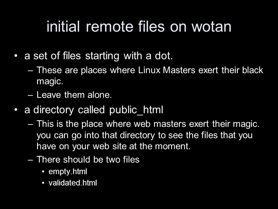 initial remote files on wotan a set of files starting with a dot.