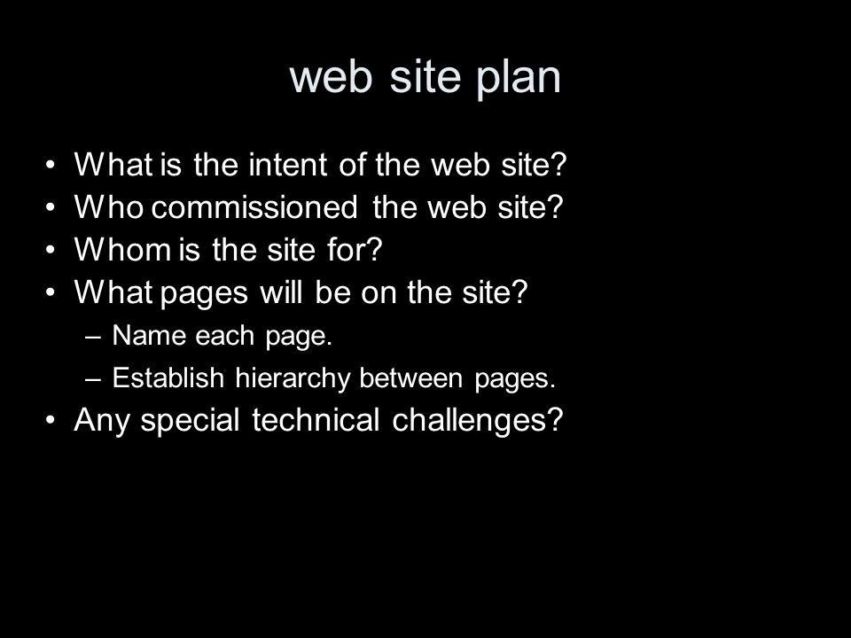web site plan What is the intent of the web site. Who commissioned the web site.
