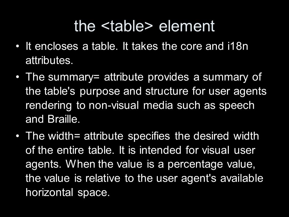 the element It encloses a table. It takes the core and i18n attributes.