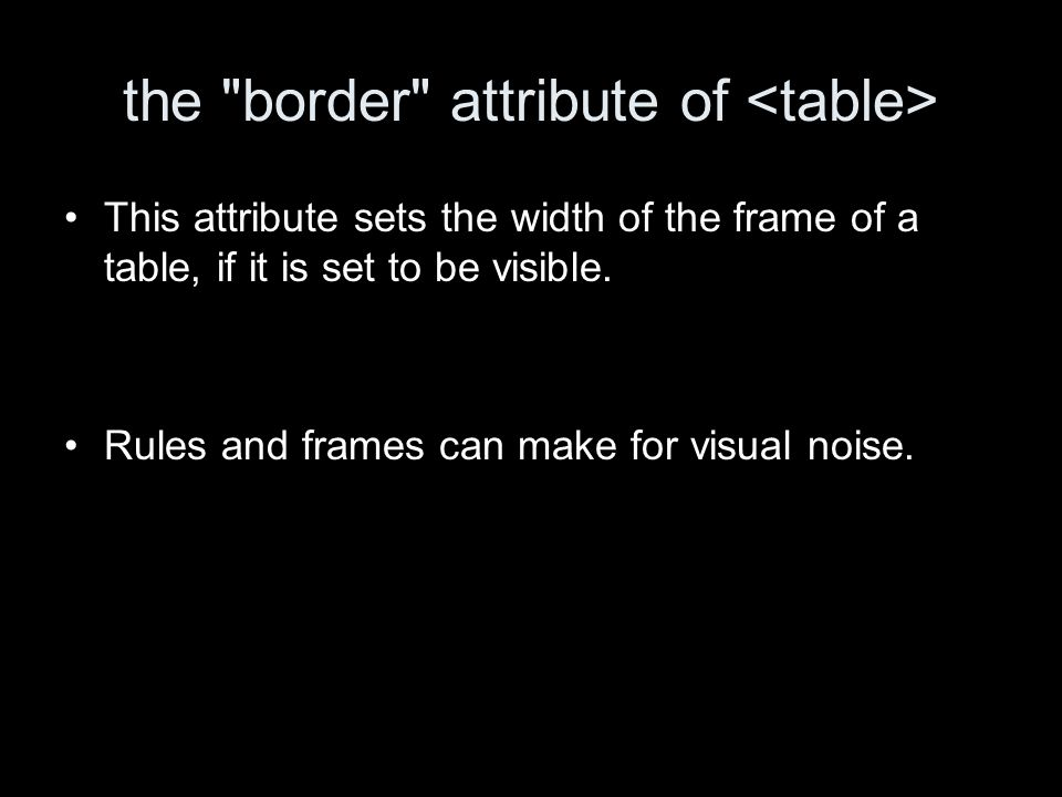 the border attribute of This attribute sets the width of the frame of a table, if it is set to be visible.