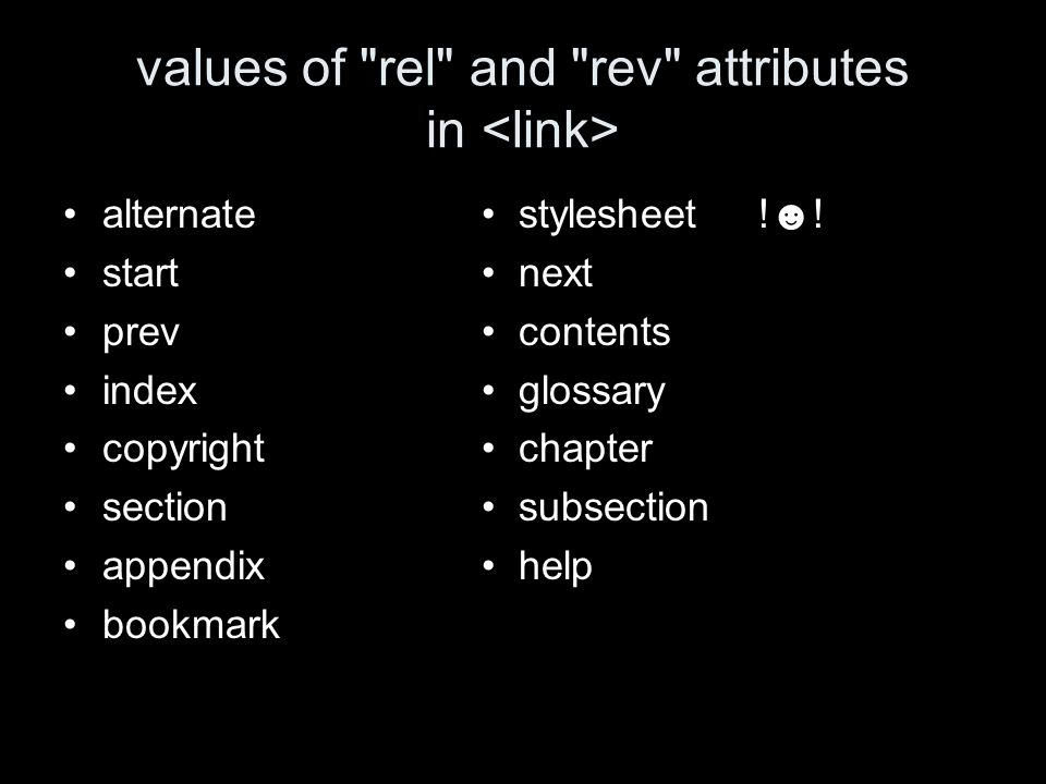 values of rel and rev attributes in alternate stylesheet !.