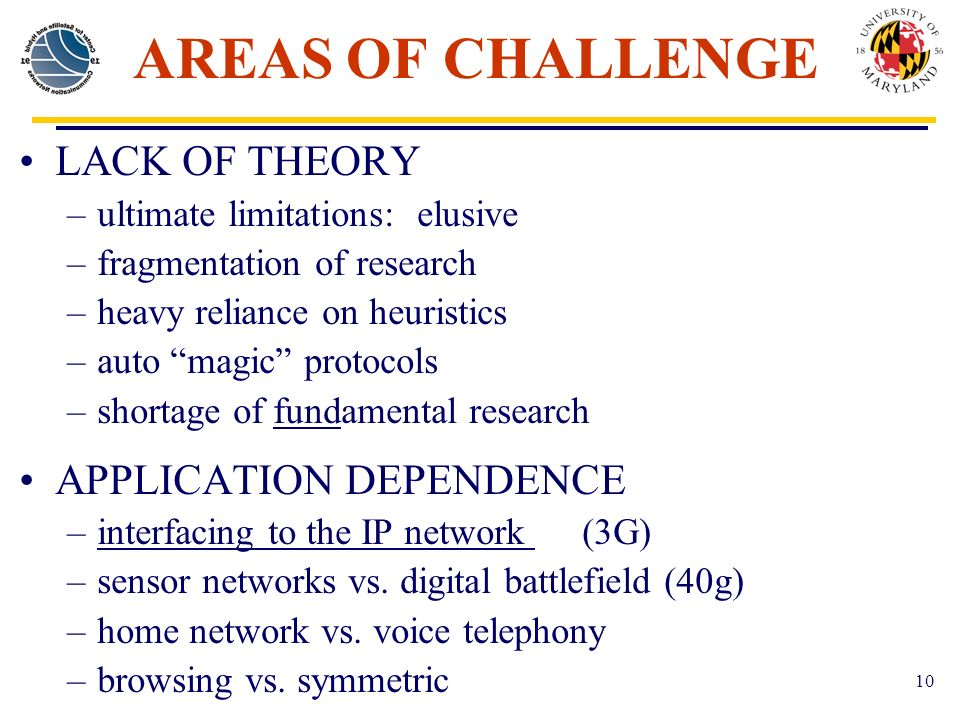 10 AREAS OF CHALLENGE LACK OF THEORY –ultimate limitations: elusive –fragmentation of research –heavy reliance on heuristics –auto magic protocols –shortage of fundamental research APPLICATION DEPENDENCE –interfacing to the IP network (3G) –sensor networks vs.