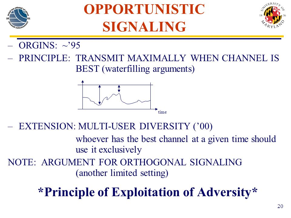 20 OPPORTUNISTIC SIGNALING –ORGINS: ~95 –PRINCIPLE: TRANSMIT MAXIMALLY WHEN CHANNEL IS BEST (waterfilling arguments) –EXTENSION: MULTI-USER DIVERSITY (00) whoever has the best channel at a given time should use it exclusively NOTE: ARGUMENT FOR ORTHOGONAL SIGNALING (another limited setting) *Principle of Exploitation of Adversity* time