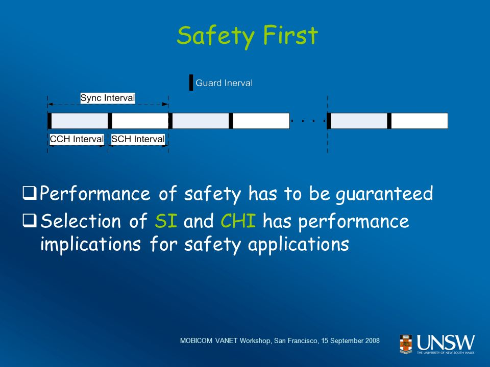 MOBICOM VANET Workshop, San Francisco, 15 September 2008 Safety First Performance of safety has to be guaranteed Selection of SI and CHI has performance implications for safety applications