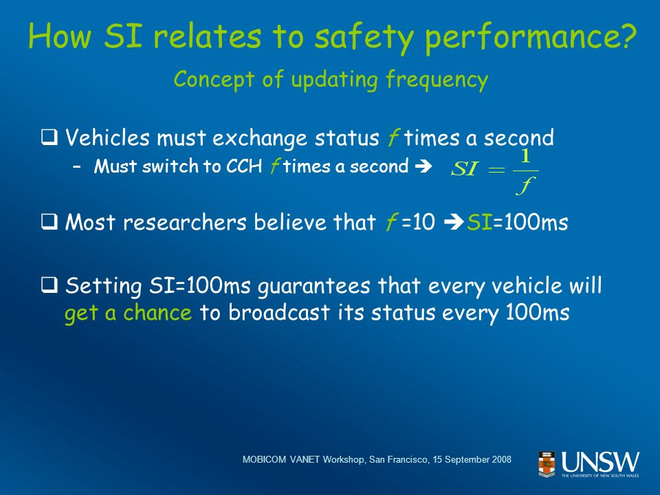 MOBICOM VANET Workshop, San Francisco, 15 September 2008 How SI relates to safety performance.