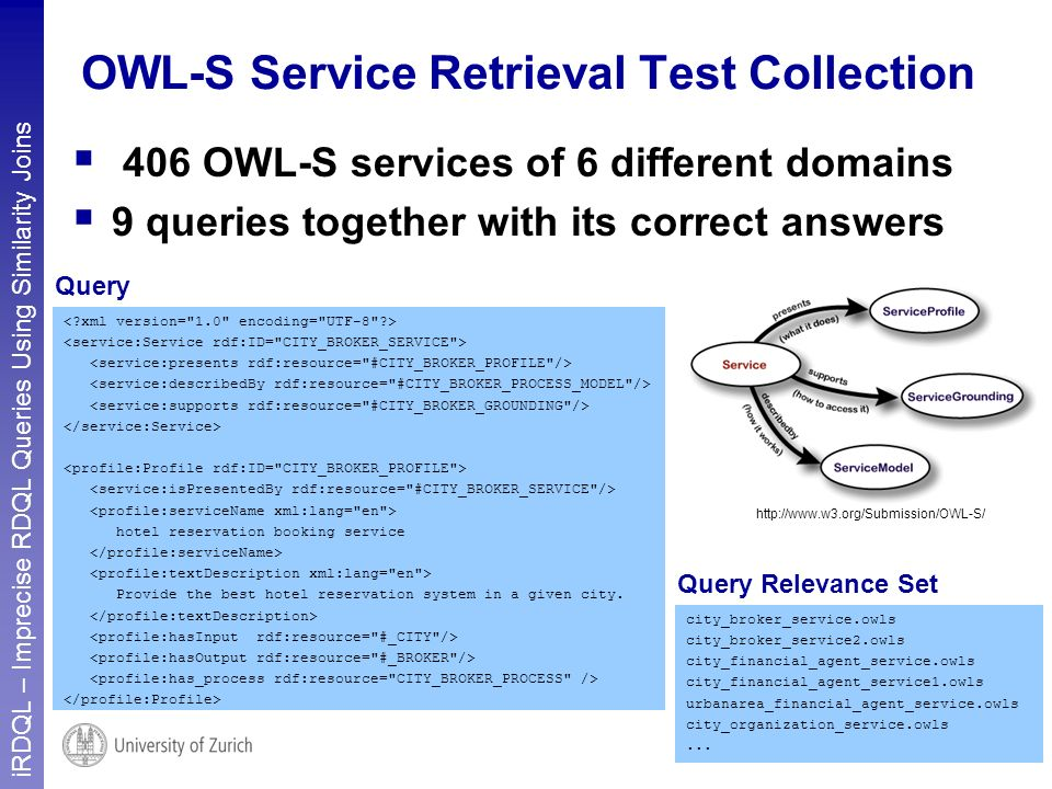 iRDQL – Imprecise RDQL Queries Using Similarity Joins 7 OWL-S Service Retrieval Test Collection hotel reservation booking service Provide the best hotel reservation system in a given city.