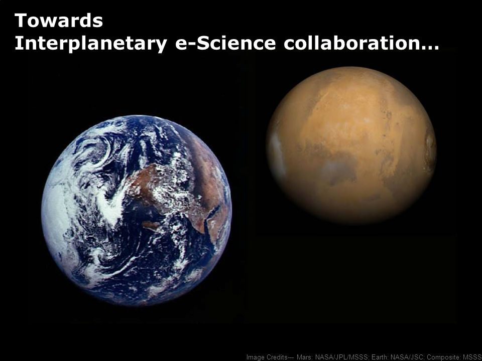 Image Credits--- Mars: NASA/JPL/MSSS; Earth: NASA/JSC; Composite: MSSS Towards Interplanetary e-Science collaboration…