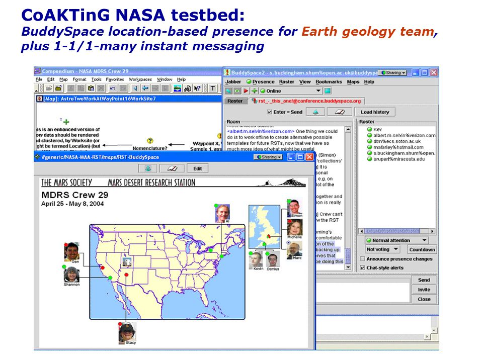 CoAKTinG NASA testbed: BuddySpace location-based presence for Earth geology team, plus 1-1/1-many instant messaging