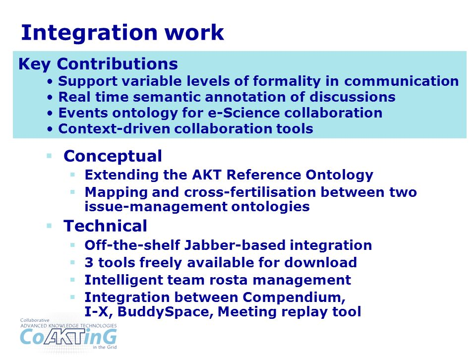 Integration work Conceptual Extending the AKT Reference Ontology Mapping and cross-fertilisation between two issue-management ontologies Technical Off-the-shelf Jabber-based integration 3 tools freely available for download Intelligent team rosta management Integration between Compendium, I-X, BuddySpace, Meeting replay tool Key Contributions Support variable levels of formality in communication Real time semantic annotation of discussions Events ontology for e-Science collaboration Context-driven collaboration tools