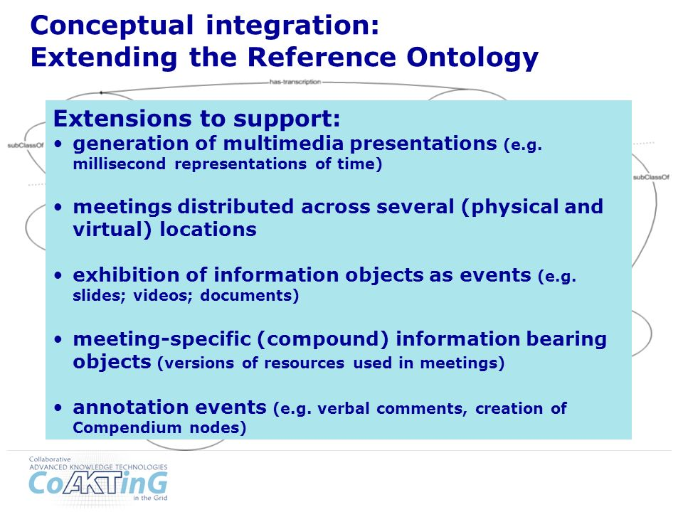Conceptual integration: Extending the Reference Ontology Extensions to support: generation of multimedia presentations (e.g.