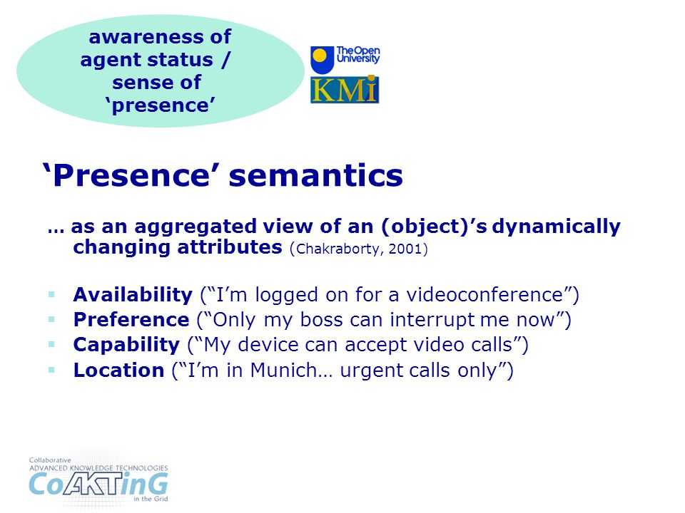 Presence semantics … as an aggregated view of an (object)s dynamically changing attributes ( Chakraborty, 2001) Availability (Im logged on for a videoconference) Preference (Only my boss can interrupt me now) Capability (My device can accept video calls) Location (Im in Munich… urgent calls only) awareness of agent status / sense of presence