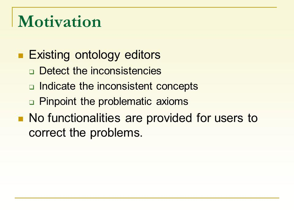 Motivation Existing ontology editors Detect the inconsistencies Indicate the inconsistent concepts Pinpoint the problematic axioms No functionalities are provided for users to correct the problems.