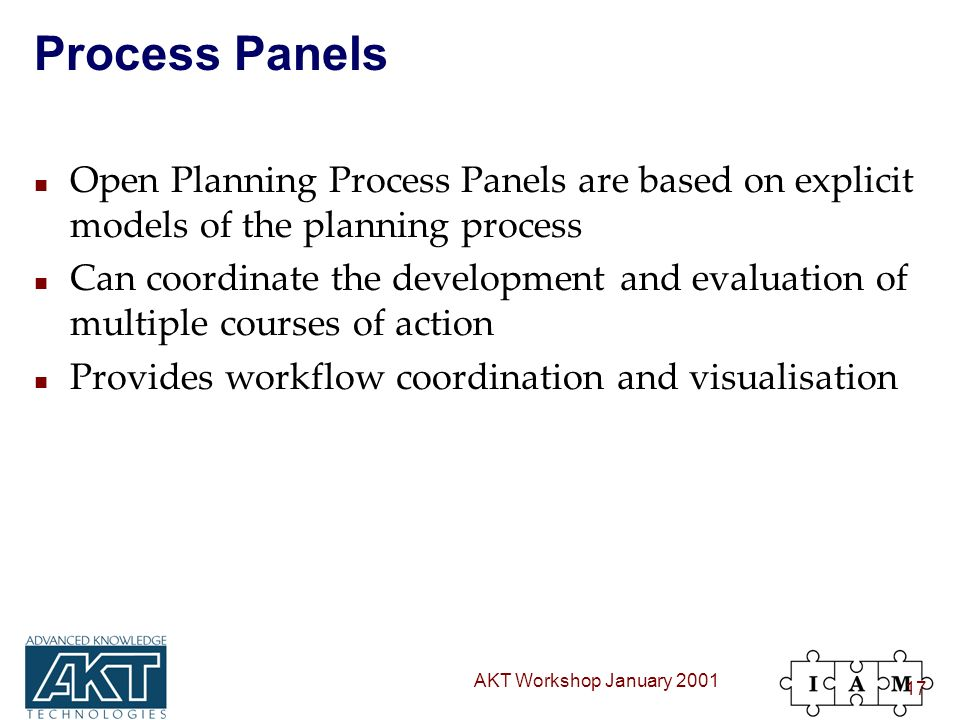 AKT Workshop January 2001 17 Process Panels n Open Planning Process Panels are based on explicit models of the planning process n Can coordinate the development and evaluation of multiple courses of action n Provides workflow coordination and visualisation