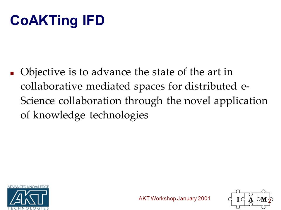 AKT Workshop January 2001 2 CoAKTing IFD n Objective is to advance the state of the art in collaborative mediated spaces for distributed e- Science collaboration through the novel application of knowledge technologies