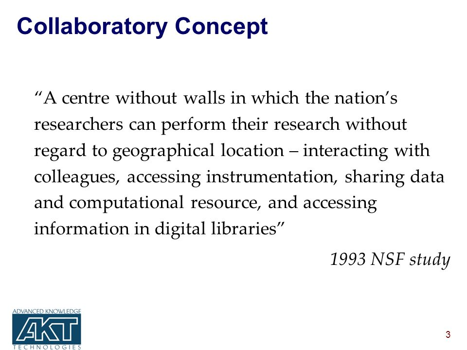3 Collaboratory Concept A centre without walls in which the nations researchers can perform their research without regard to geographical location – interacting with colleagues, accessing instrumentation, sharing data and computational resource, and accessing information in digital libraries 1993 NSF study