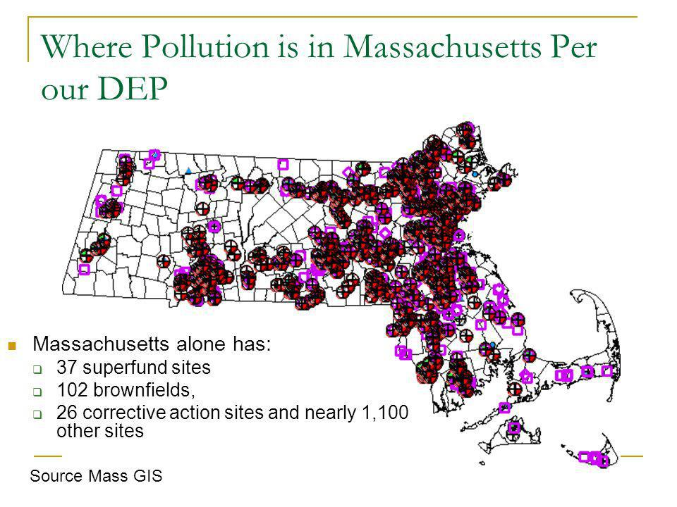 Where Pollution is in Massachusetts Per our DEP Massachusetts alone has: 37 superfund sites 102 brownfields, 26 corrective action sites and nearly 1,100 other sites Source Mass GIS