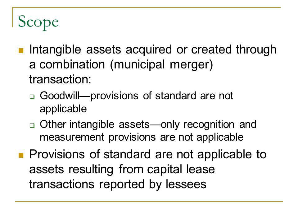 Scope Intangible assets acquired or created through a combination (municipal merger) transaction: Goodwillprovisions of standard are not applicable Other intangible assetsonly recognition and measurement provisions are not applicable Provisions of standard are not applicable to assets resulting from capital lease transactions reported by lessees