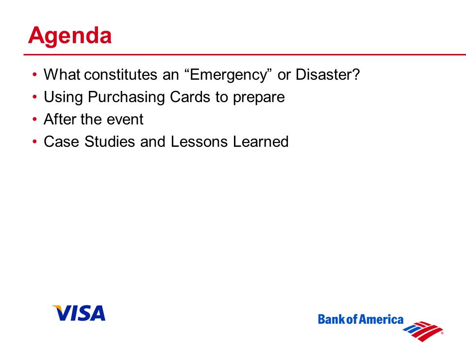Agenda What constitutes an Emergency or Disaster.