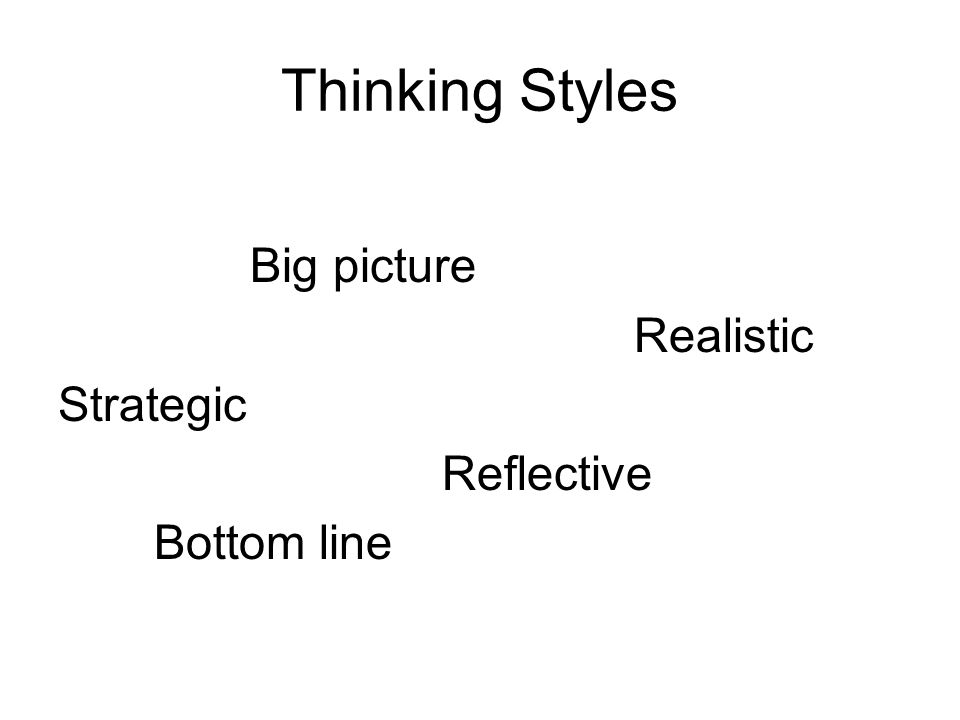 Thinking Styles Big picture Realistic Strategic Reflective Bottom line