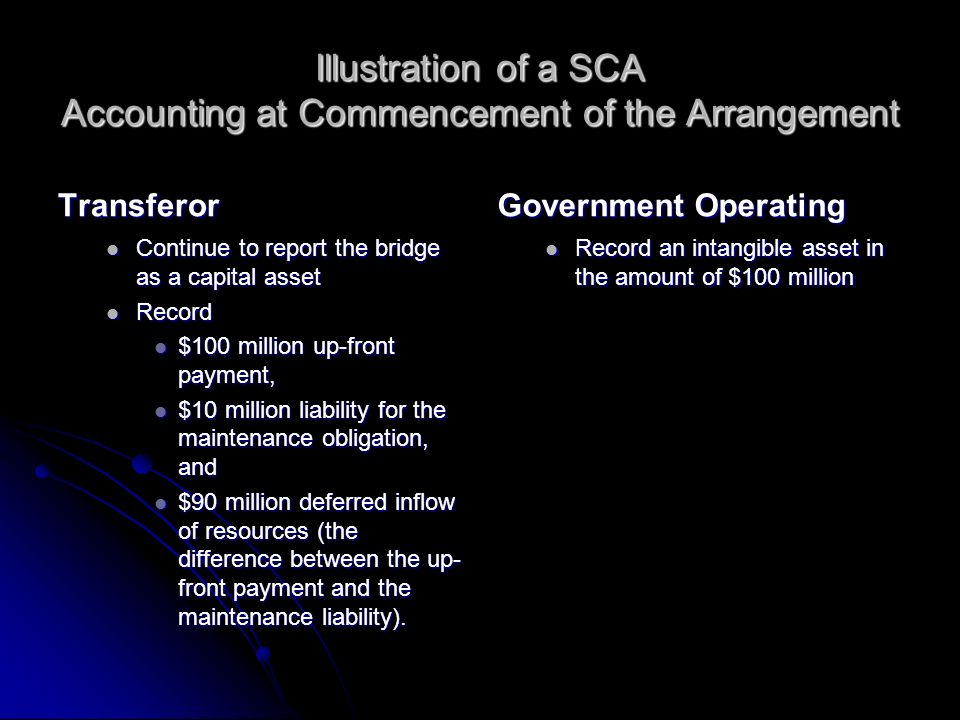 Illustration of a SCA Accounting at Commencement of the Arrangement Transferor Continue to report the bridge as a capital asset Record $100 million up-front payment, $10 million liability for the maintenance obligation, and $90 million deferred inflow of resources (the difference between the up- front payment and the maintenance liability).