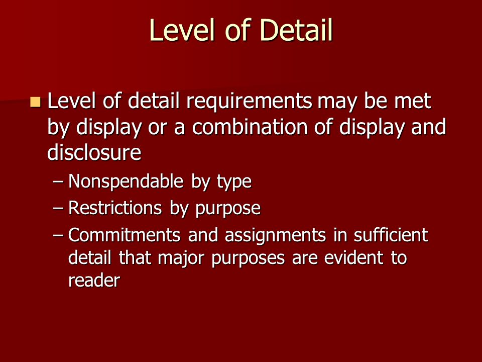 Level of Detail Level of detail requirements may be met by display or a combination of display and disclosure Level of detail requirements may be met by display or a combination of display and disclosure –Nonspendable by type –Restrictions by purpose –Commitments and assignments in sufficient detail that major purposes are evident to reader