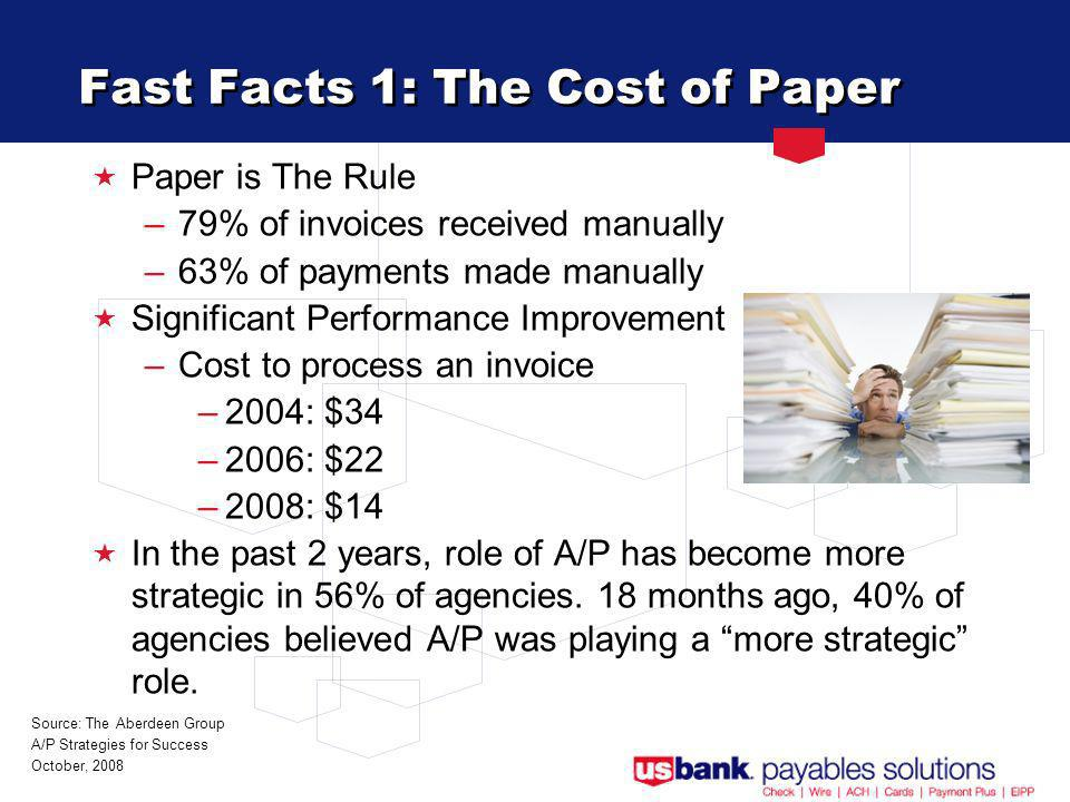 Fast Facts 1: The Cost of Paper Paper is The Rule –79% of invoices received manually –63% of payments made manually Significant Performance Improvement –Cost to process an invoice –2004: $34 –2006: $22 –2008: $14 In the past 2 years, role of A/P has become more strategic in 56% of agencies.