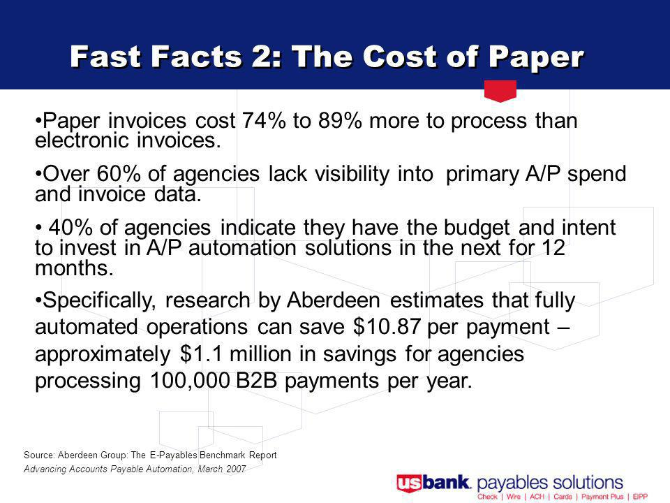 Fast Facts 2: The Cost of Paper Paper invoices cost 74% to 89% more to process than electronic invoices.