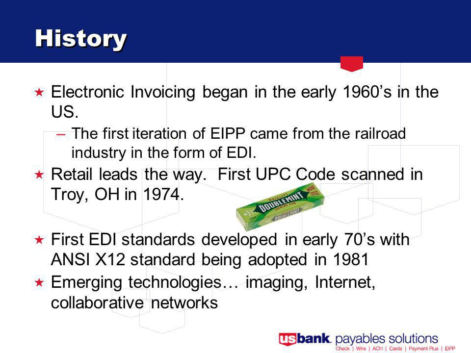 History Electronic Invoicing began in the early 1960s in the US.