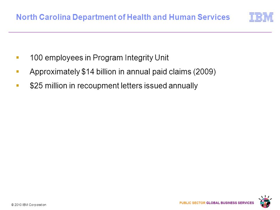 © 2010 IBM Corporation 100 employees in Program Integrity Unit Approximately $14 billion in annual paid claims (2009) $25 million in recoupment letters issued annually North Carolina Department of Health and Human Services