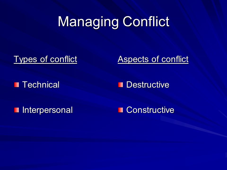 Managing Conflict Types of conflict TechnicalInterpersonal Aspects of conflict DestructiveConstructive