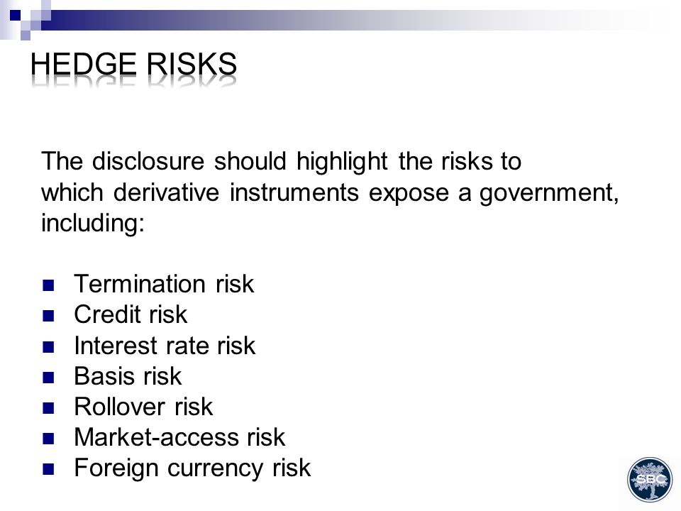 The disclosure should highlight the risks to which derivative instruments expose a government, including: Termination risk Credit risk Interest rate risk Basis risk Rollover risk Market-access risk Foreign currency risk