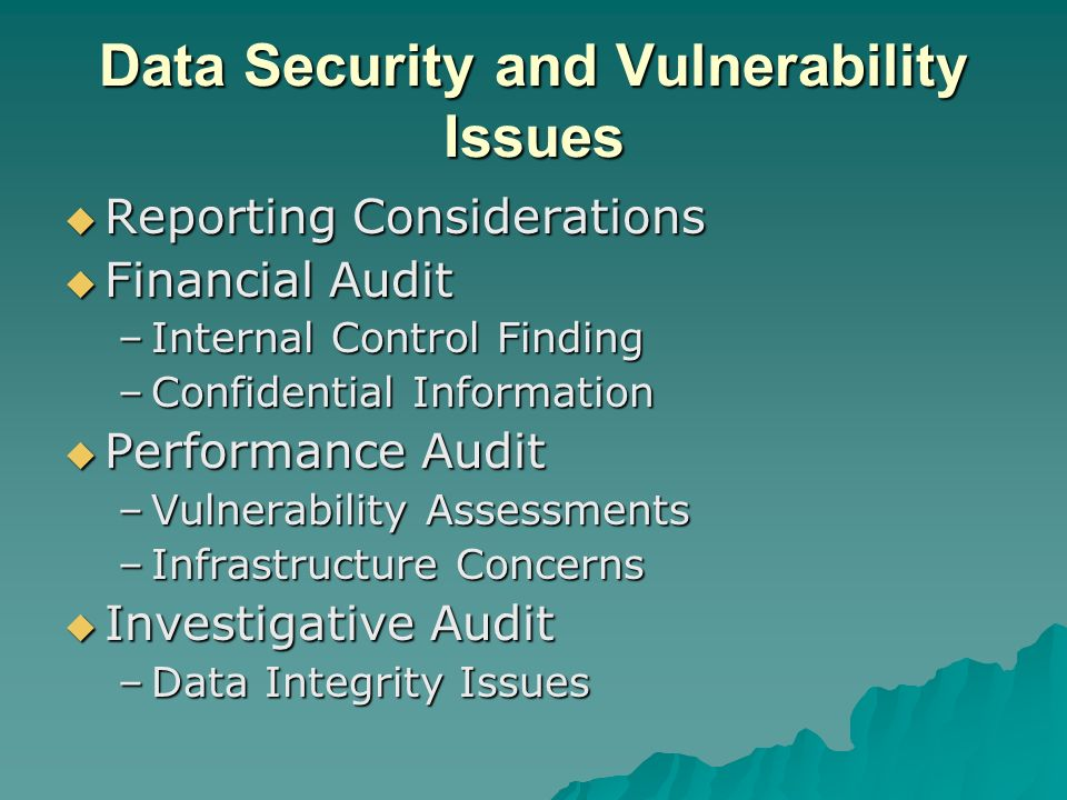 Data Security and Vulnerability Issues Reporting Considerations Reporting Considerations Financial Audit Financial Audit –Internal Control Finding –Confidential Information Performance Audit Performance Audit –Vulnerability Assessments –Infrastructure Concerns Investigative Audit Investigative Audit –Data Integrity Issues