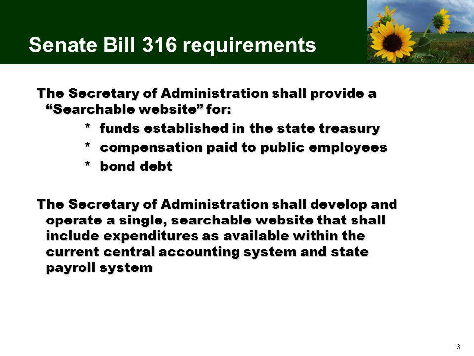 3 Senate Bill 316 requirements The Secretary of Administration shall provide a Searchable website for: * funds established in the state treasury * compensation paid to public employees * bond debt The Secretary of Administration shall develop and operate a single, searchable website that shall include expenditures as available within the current central accounting system and state payroll system