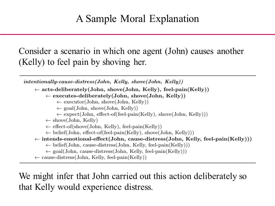 A Sample Moral Explanation Consider a scenario in which one agent (John) causes another (Kelly) to feel pain by shoving her.
