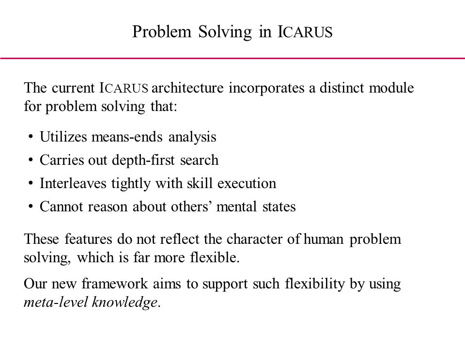 Utilizes means-ends analysis Carries out depth-first search Interleaves tightly with skill execution Cannot reason about others mental states The current I CARUS architecture incorporates a distinct module for problem solving that: These features do not reflect the character of human problem solving, which is far more flexible.