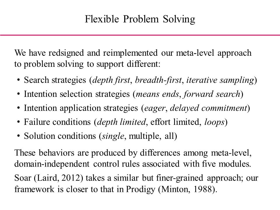 Search strategies (depth first, breadth-first, iterative sampling) Intention selection strategies (means ends, forward search) Intention application strategies (eager, delayed commitment) Failure conditions (depth limited, effort limited, loops) Solution conditions (single, multiple, all) We have redsigned and reimplemented our meta-level approach to problem solving to support different: These behaviors are produced by differences among meta-level, domain-independent control rules associated with five modules.