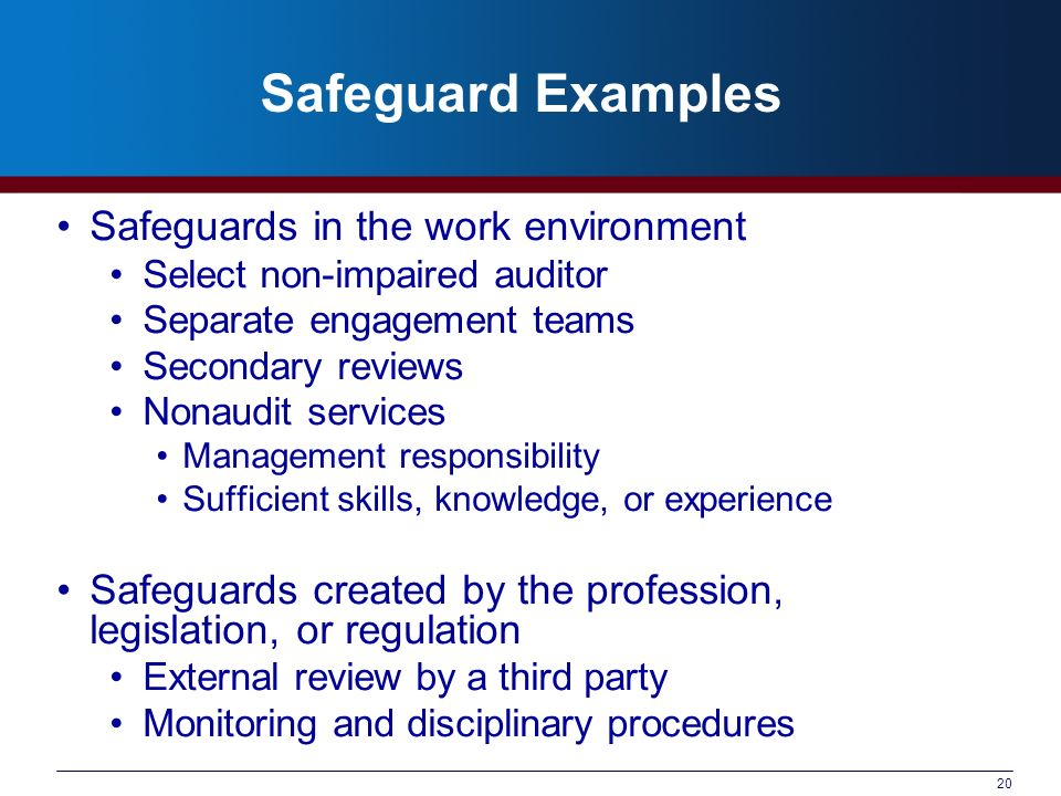 20 Safeguard Examples Safeguards in the work environment Select non-impaired auditor Separate engagement teams Secondary reviews Nonaudit services Management responsibility Sufficient skills, knowledge, or experience Safeguards created by the profession, legislation, or regulation External review by a third party Monitoring and disciplinary procedures