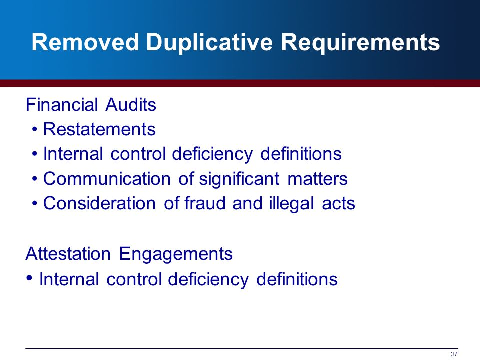37 Removed Duplicative Requirements Financial Audits Restatements Internal control deficiency definitions Communication of significant matters Consideration of fraud and illegal acts Attestation Engagements Internal control deficiency definitions