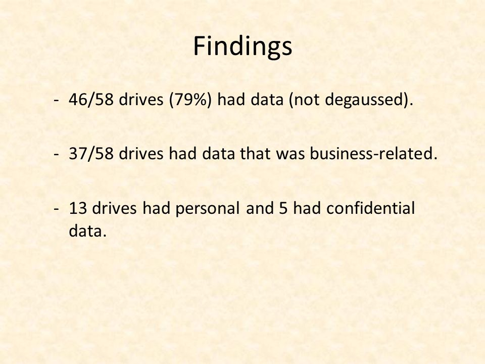 Findings -46/58 drives (79%) had data (not degaussed).