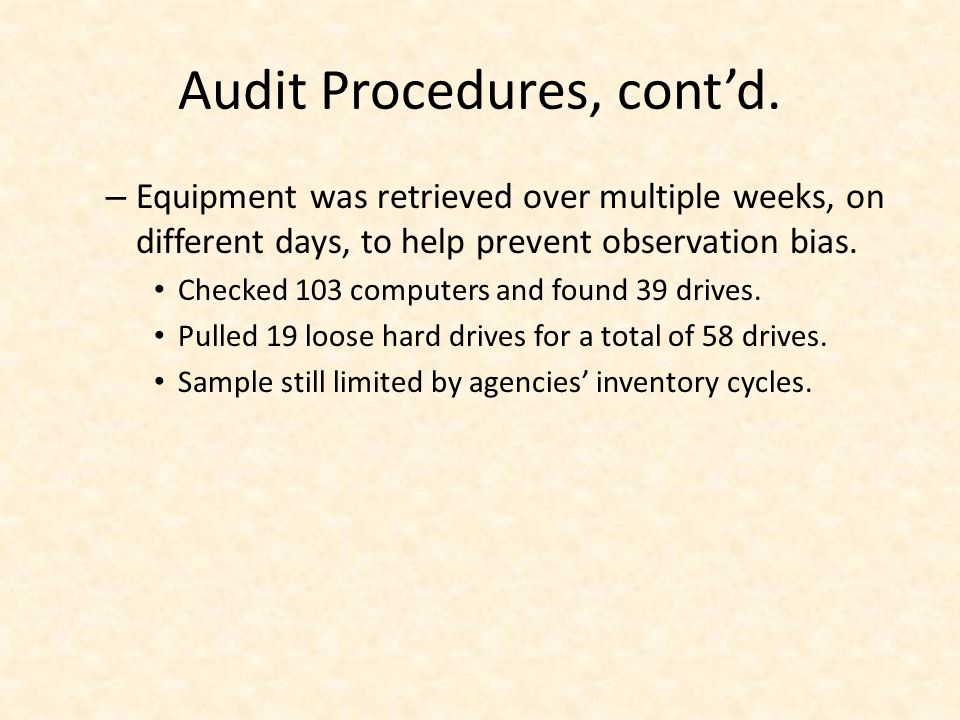Audit Procedures, contd.