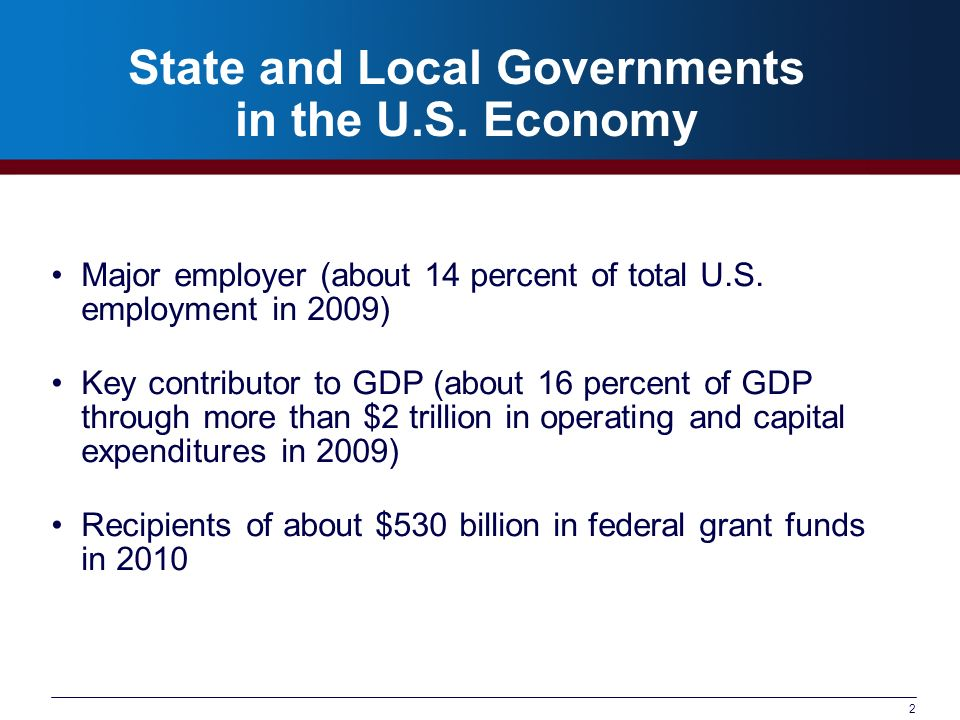 2 State and Local Governments in the U.S. Economy Major employer (about 14 percent of total U.S.