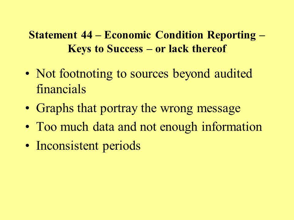 Not footnoting to sources beyond audited financials Graphs that portray the wrong message Too much data and not enough information Inconsistent periods Statement 44 – Economic Condition Reporting – Keys to Success – or lack thereof