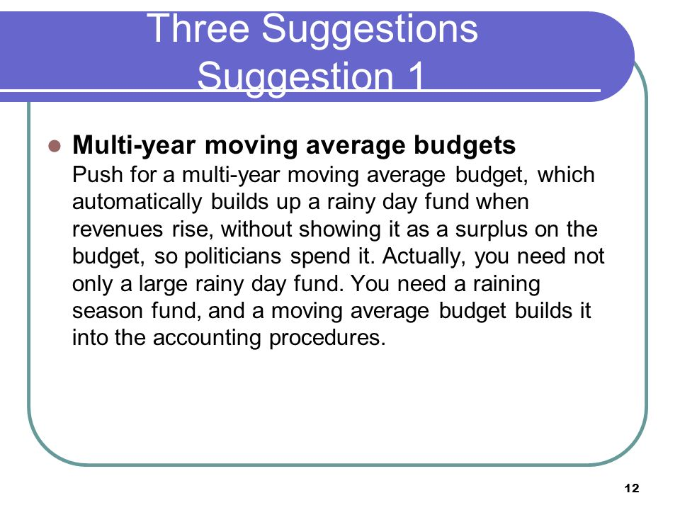 Three Suggestions Suggestion 1 Multi-year moving average budgets Push for a multi-year moving average budget, which automatically builds up a rainy day fund when revenues rise, without showing it as a surplus on the budget, so politicians spend it.