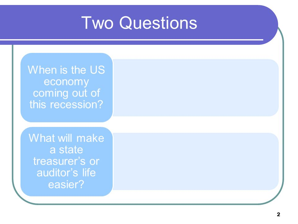 Two Questions When is the US economy coming out of this recession.