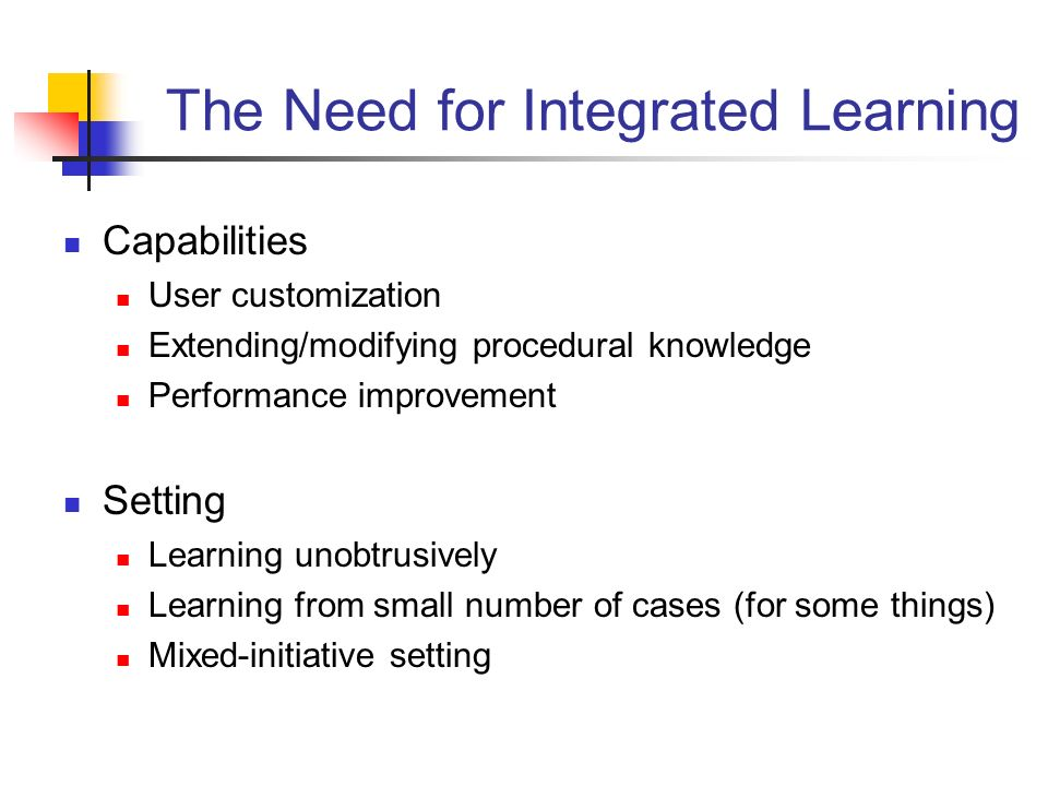 The Need for Integrated Learning Capabilities User customization Extending/modifying procedural knowledge Performance improvement Setting Learning unobtrusively Learning from small number of cases (for some things) Mixed-initiative setting