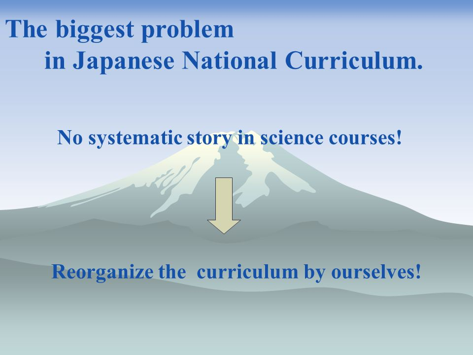 Reorganize the curriculum by ourselves. The biggest problem in Japanese National Curriculum.
