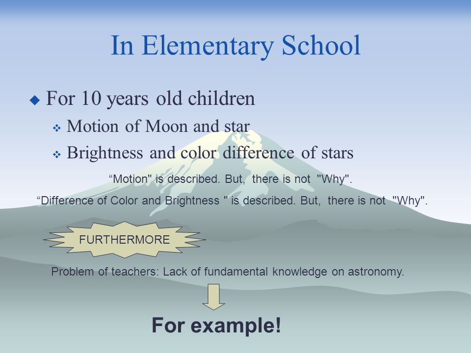 In Elementary School For 10 years old children Motion of Moon and star Brightness and color difference of stars Motion is described.