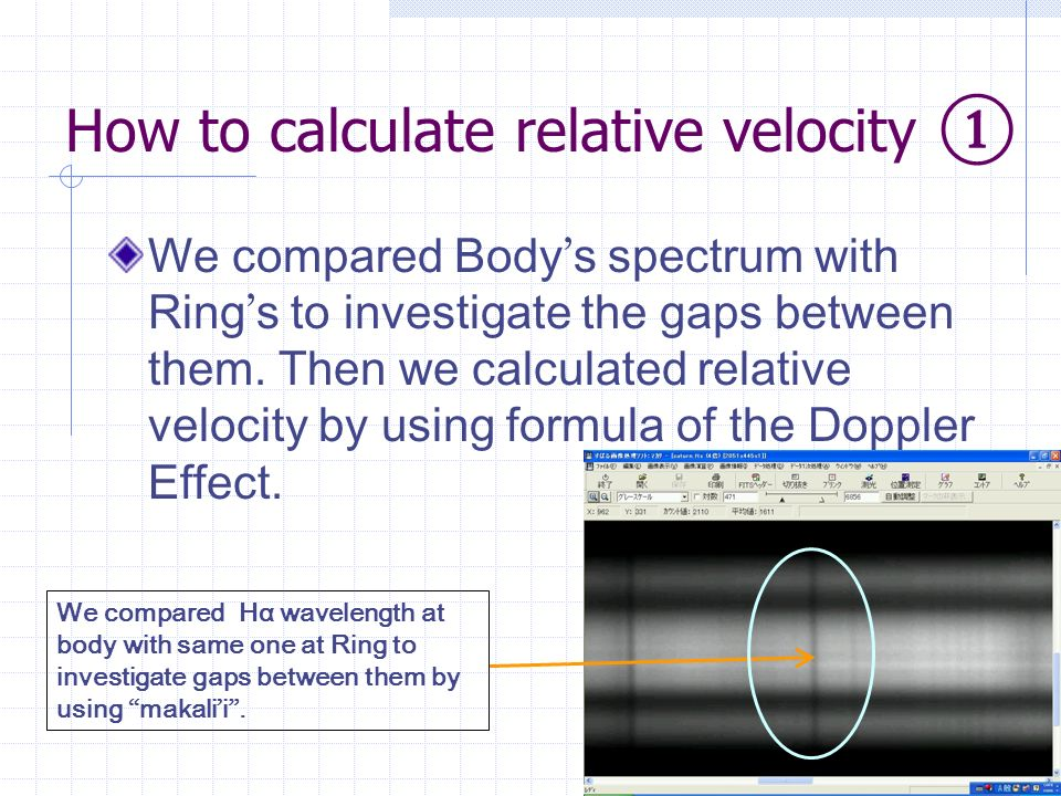 How to calculate relative velocity We compared Body s spectrum with Ring s to investigate the gaps between them.