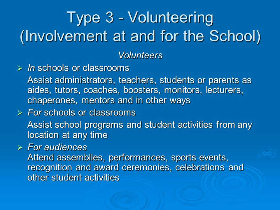 Type 3 - Volunteering (Involvement at and for the School) Volunteers In schools or classrooms In schools or classrooms Assist administrators, teachers, students or parents as aides, tutors, coaches, boosters, monitors, lecturers, chaperones, mentors and in other ways For schools or classrooms For schools or classrooms Assist school programs and student activities from any location at any time For audiences Attend assemblies, performances, sports events, recognition and award ceremonies, celebrations and other student activities For audiences Attend assemblies, performances, sports events, recognition and award ceremonies, celebrations and other student activities