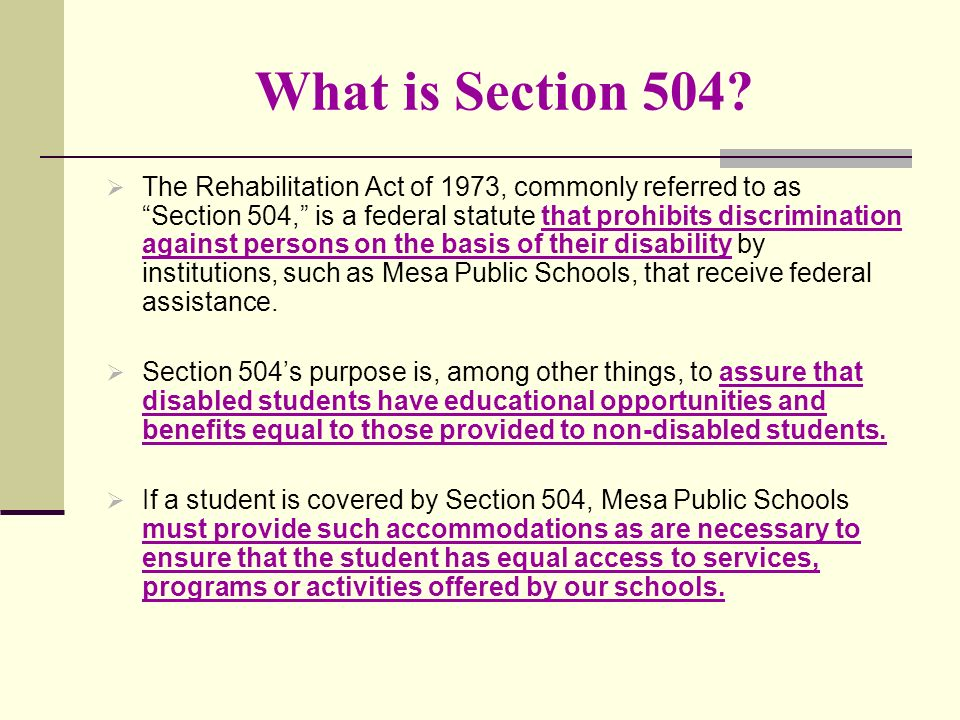 What is Section 504.